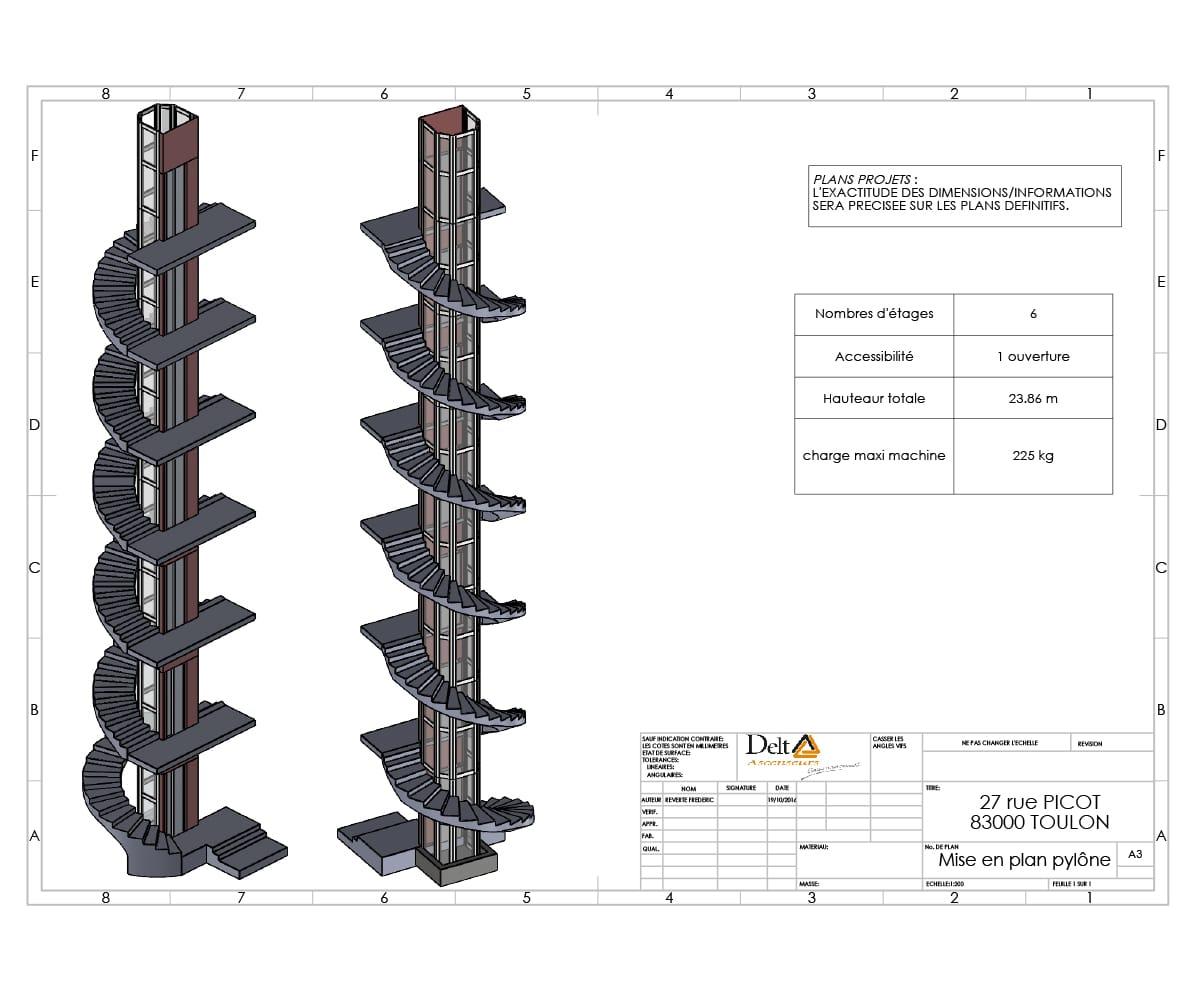 Installation ascenseur en copropriété avec pylône vitré